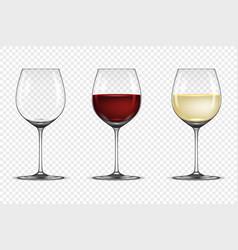 Realistic wineglass icon set - empty vector