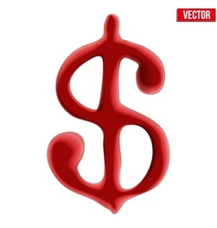 Red blood dollar sign on white background vector