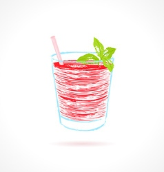 Red cocktail with mint garnish Ink vector