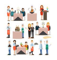 Restaurant people flat icon set vector
