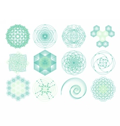 Sacred geometry symbols and elements set vector image