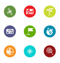 Satellite interference icons set flat style vector