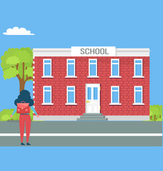 school two-storey building and girl with backpack vector image