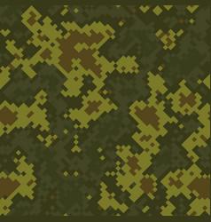 seamless digital woodland pixel camo texture vector image