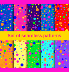 Seamless patterns with colored circle vector