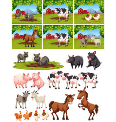 set of animal at farm vector image