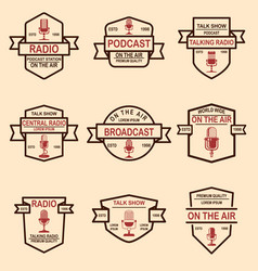 set of podcast radio emblems with microphone vector image