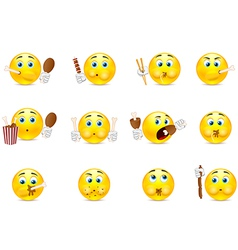 Set of smileys which eat vector