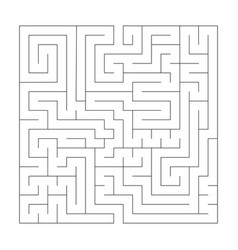 square maze labyrinth black thin outline vector image