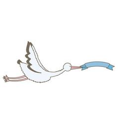 stork bird flying with ribbon frame vector image