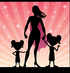 super mom 2 daughters vector image