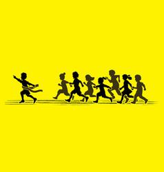 the winner group of children running marathon vector image