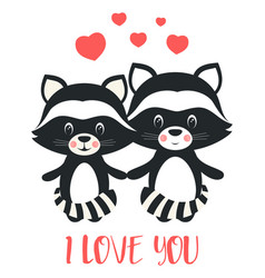 Valentines card with cute raccoons vector
