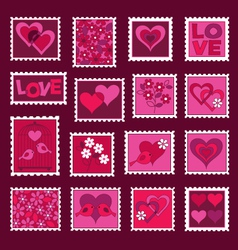 Valentines Day Stamps vector