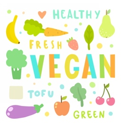 Vegan Vegetables and fruits vector image