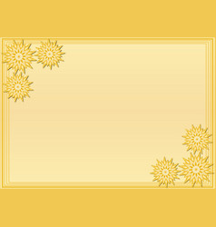Yellow frame with stylized geometric flower in vector