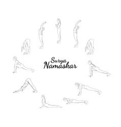 Yoga surya namaskar sequence sun salutating woman vector