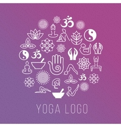 Yoga symbols in round label shape vector