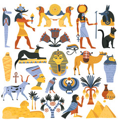 ancient egyptian religion elements set vector image