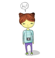 Cartoon girl with camera vector