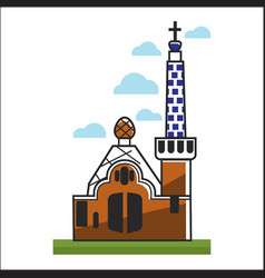 Spain church with big gates and high tower vector