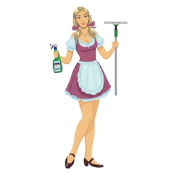 beautiful girl maid cleaner vector image vector image