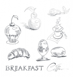 breakfast sketch vector image vector image