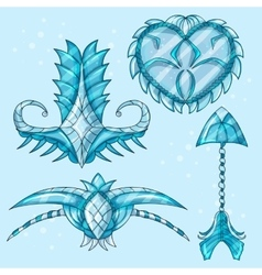 Cartoon beautiful winter artifacts vector image