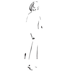 fashion model sketch cartoon girls silhouette vector image
