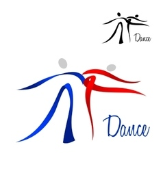 Flowing stylized dancing couple icon vector image vector image