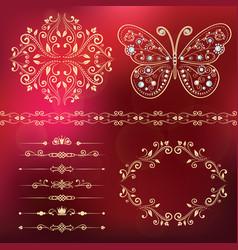 set of floral border frame dividers vector image vector image