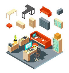 set of isometric office interior elements flat vector image vector image