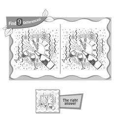 find 9 differences game clock christmas vector image vector image