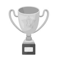 gold cup of the winner on a wooden stand with the vector image vector image