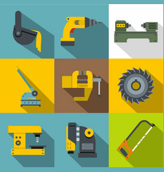 industry tools icons set flat style vector image