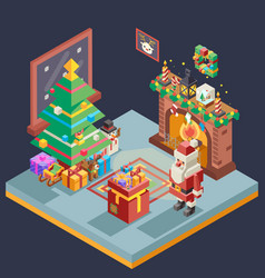 isometric room cristmas new year santa claus icons vector image vector image