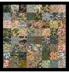 Seamless set of camouflage pattern vector image