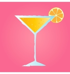 tropical cocktail with orange and bubbles vector image