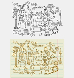 Doodle Monsters Fantasy vector image vector image