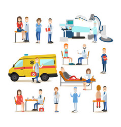 medical staff flat icon set vector image vector image