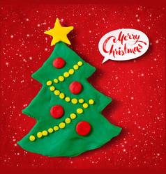 plasticine of christmas tree vector image
