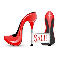 Red shoe with high heels vector