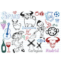 spain doodles collection vector image