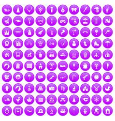 100 happy childhood icons set purple vector image vector image