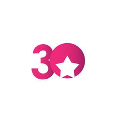 30 years anniversary star ball purple celebration vector