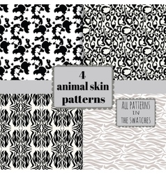 4 animal skin patterns set vector