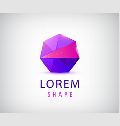 abstract geometric logo crystal polygon vector image
