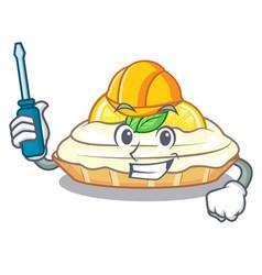 Automotive mascot delicious homemade lemon cake vector