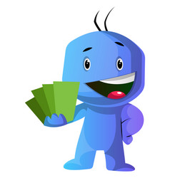 blue cartoon caracter showing green cards on vector image