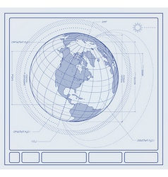 blueprint earth vector image